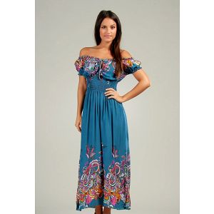Dámské ocelově modré maxi šaty s pestrými vzory Anabelle