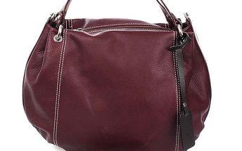 Dámská tmavě fialová kožená kabelka Puntotres