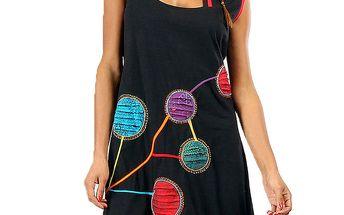 Dámské černé šaty s barevnými kolečky Aller Simplement