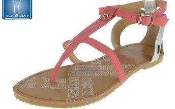 Dámské růžové sandály s koženou stélkou Beppi