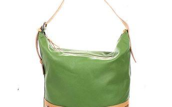 Dámská zelená kožená kabelka Puntotres