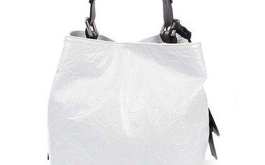 Dámská bílá kožená kabelka s jemným vzorem Puntotres