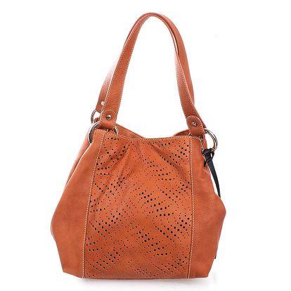 Dámská oranžovohnědá kožená kabelka s perforací Puntotres
