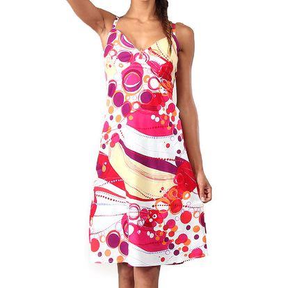 Dámské šaty s potiskem v červených a žlutých odstínech Aller Simplement