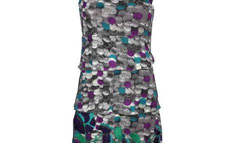 Dámské šedé vrstvené šaty Smash s potiskem