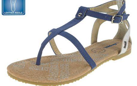 Dámské modré sandály s koženou stélkou Beppi