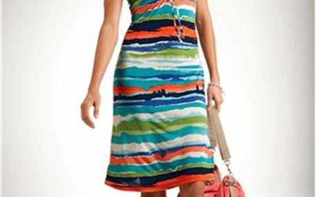 Šaty, tyrkysová, vícebarevná