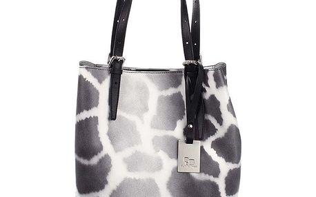 Dámská kožená kabelka s černým žirafím potiskem Puntotres