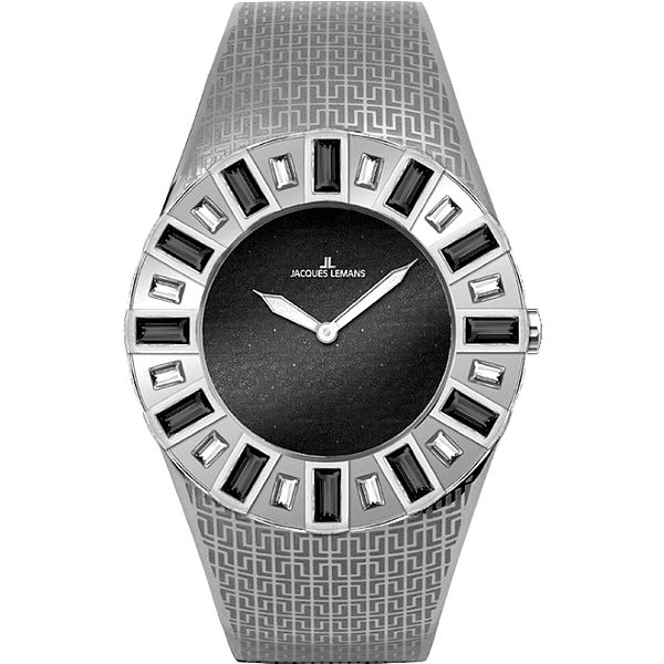 Dámské stříbrné hodinky s krystaly Jacques Lemans