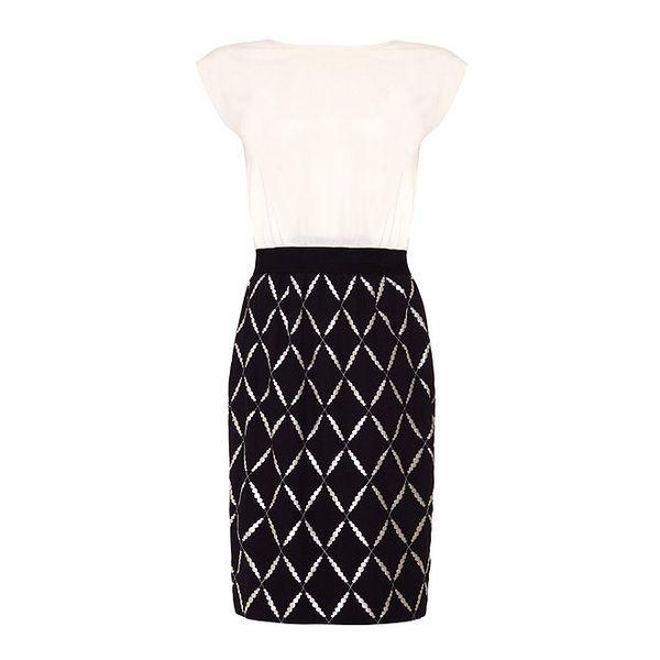 Dámské krémovo-černé šaty s vzorovanou sukní Fever