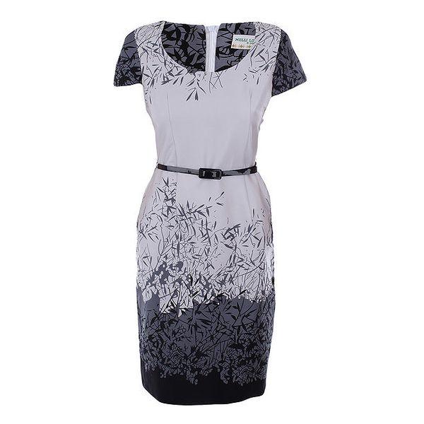 Dámské šaty s šedo-černým potiskem Melli London