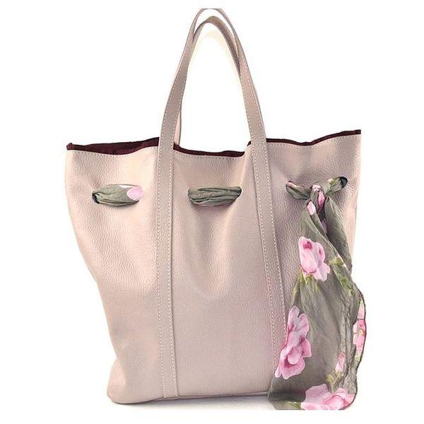 Dámská světle růžová kožená kabelka s šátkem Pelleteria