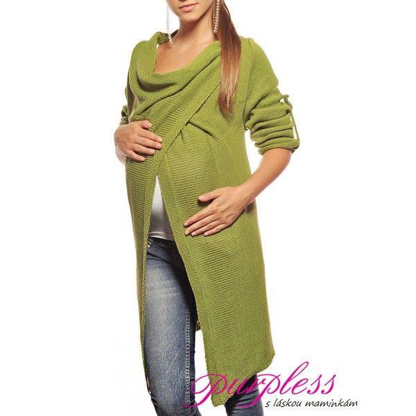 Těhotenský svetr Olina - zvýrazňující bříško - Green 9001