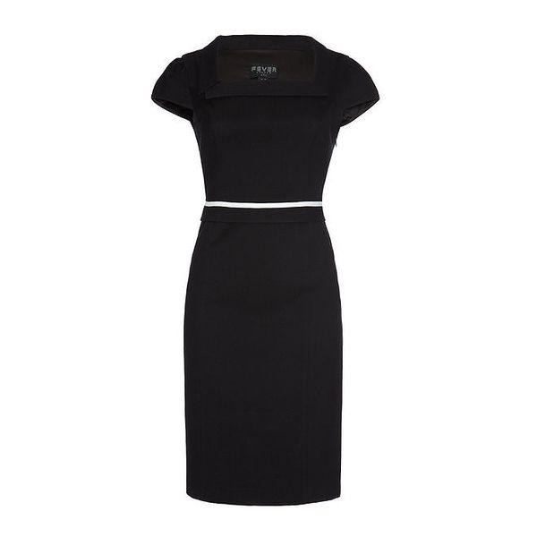 Dámské černé šaty s čtvercovým výstřihem Fever