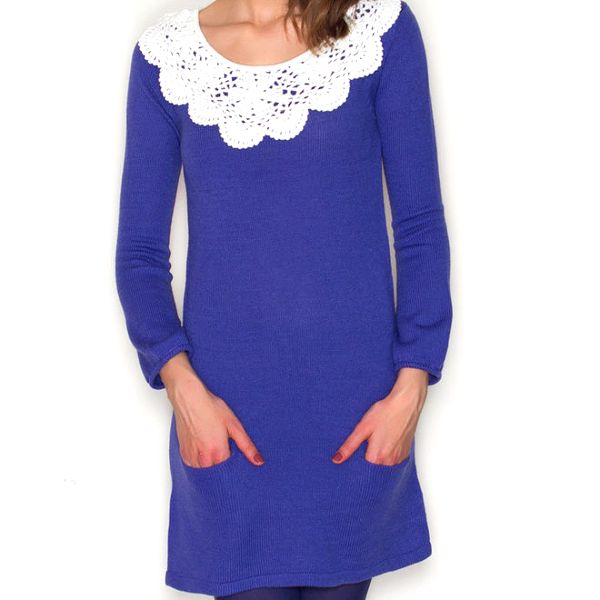 Dámské modré šaty s bílým límečkem Pepa Loves