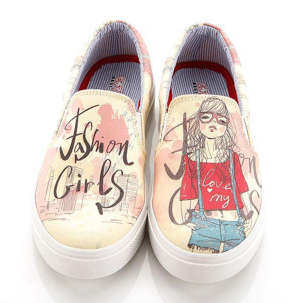 Dámské loafers s potiskem dívky Elite Goby