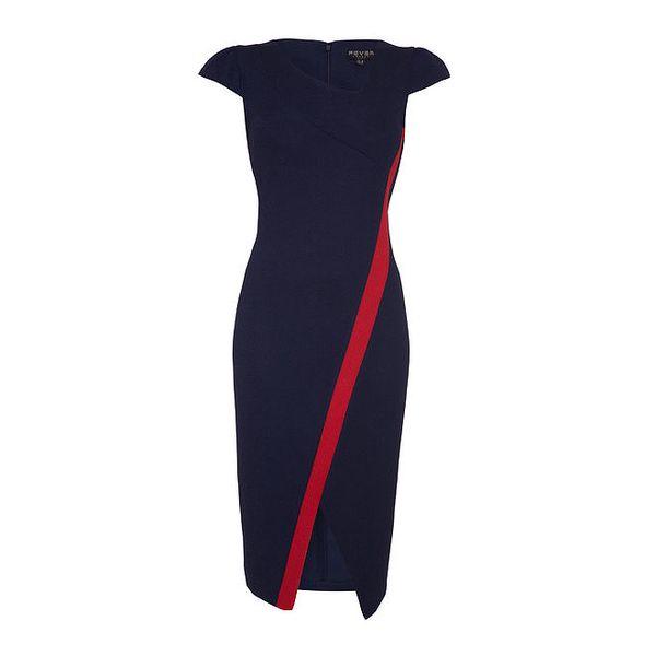 Dámské modré šaty s červeným pruhem Fever