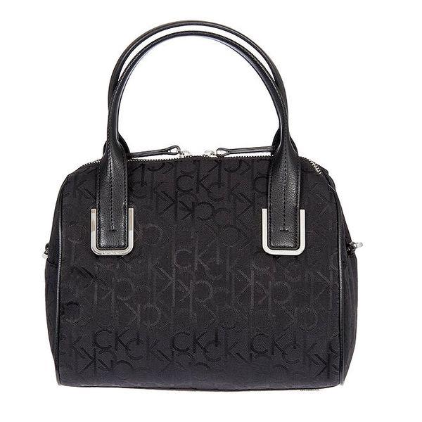 Dámská černá kufříková vzorovaná kabelka s koženými poutky Calvin Klein