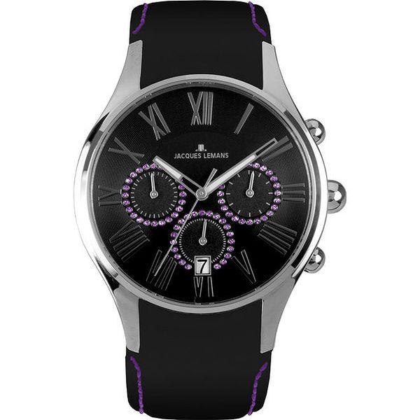 Dámské černo-fialové hodinky Jacques Lemans