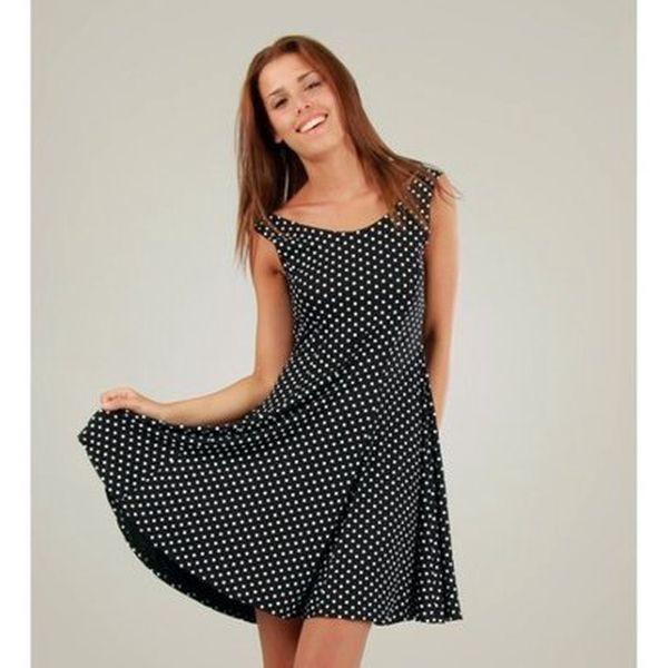 Dámské černé šaty s bílými puntíky a kolovou sukní Ginger Ale