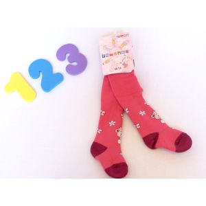 Rewon - dětské dívčí zimní froté punčocháče vel. 68-74 cm - tm. růžové kytičky