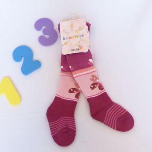 Rewon - dětské dívčí zimní froté punčocháče vel. 80-86 cm - tm. fialové - kytky