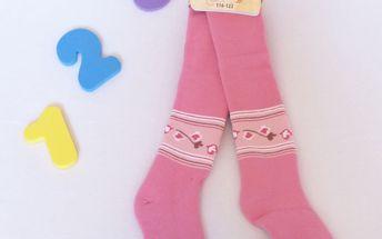 Rewon - dětské dívčí zimní froté punčocháče vel. 104-110 cm - sv. růžové lístky