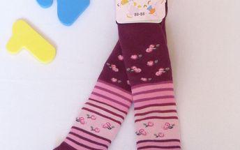 Rewon - dětské dívčí zimní froté punčocháče vel. 80-86 cm - tm. fialové kytičy