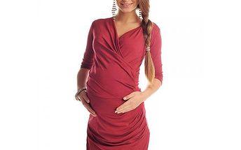 Těhotenské dámské šaty Bela - Burgundy 6408 - různé vel.