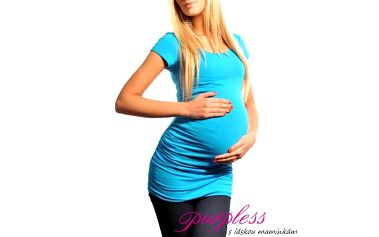 Těhotenské triko krátký rukáv - Milena - modré 5010 - různé vel.
