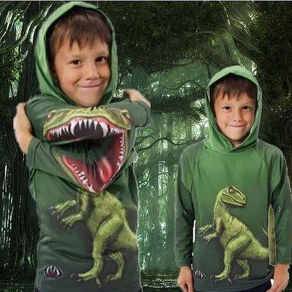 3 D dětské triko s kapucou - dlouhý rukáv Dinosaurus vel. 3-4 roky