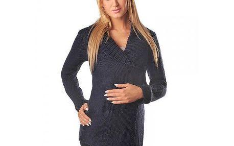 Elegantní těhotenský svetr Klára - Navy 9002