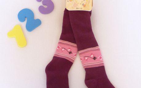 Rewon - dětské dívčí zimní froté punčocháče vel. 104-110 cm - tm. fialové lístky