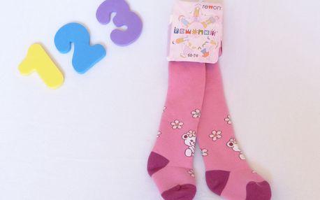 Rewon - dětské dívčí zimní froté punčocháče vel. 68-74 cm - sv. růžové kytičky