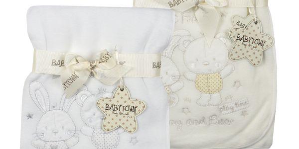 Bunny and Bear dětská fleece deka s výšivkou 90x75 cm - bílá
