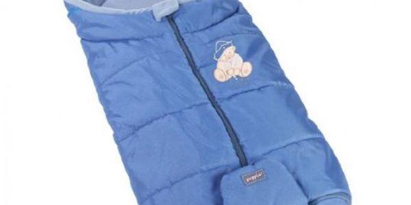 Womar - zimní fusak do kočárku s výšivkou - modrý - vzor: slon