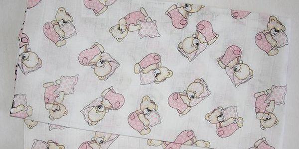 Hybler dětská bavlněná plena - potisk méďa růžový polštář 70 x 70 cm - 1ks