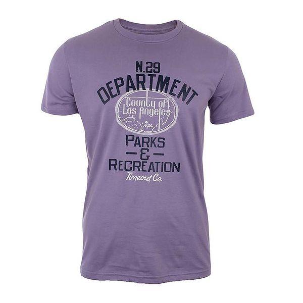 Pánské fialové triko s potiskem Timeout