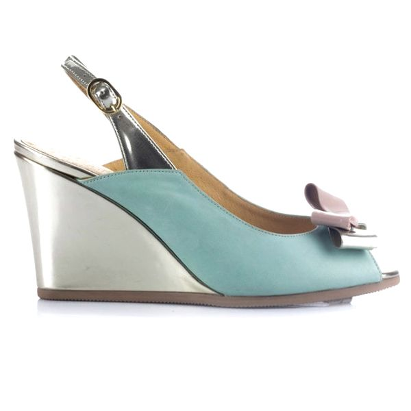 Dámské zeleno-zlaté kožené sandálky na klínku Joana and Paola