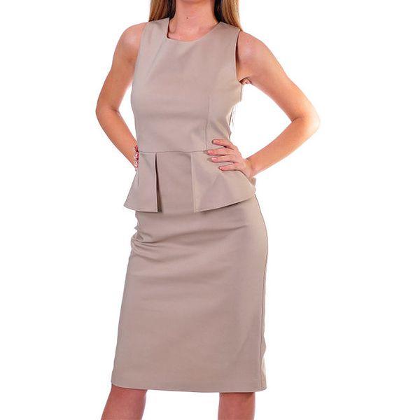 Dámské béžové peplum šaty DAKA
