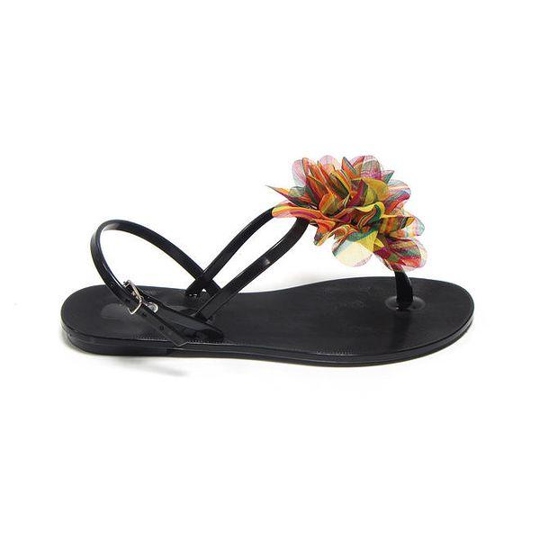 Dámské černé sandálky s pestrou látkovou květinou Favolla