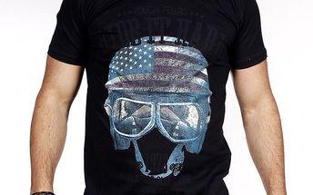 Pánské černé tričko s helmou Pontto
