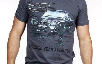 Pánské šedé tričko s autem Pontto