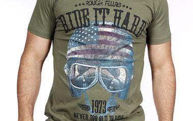 Pánské khaki tričko s helmou Pontto