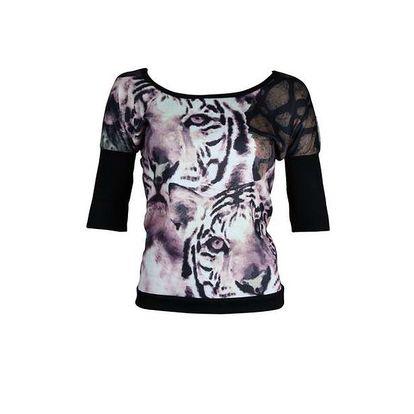 Dámský černo-fialový top Smash s tygry
