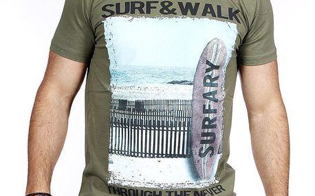 Pánské zelené tričko se surfem Pontto