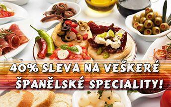 Sleva 40% na na celý jídelní lístek v restauraci AMORVINO! Španělské speciality: Tapas, steaky, jamón, saláty a dezerty připravené rodilým kuchařem! Poznejte neopakovatelnou atmosféru španělské pohostinnosti a společenského života!!!!!