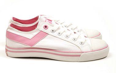 Dámské bílé tenisky s růžovým véčkem Pony