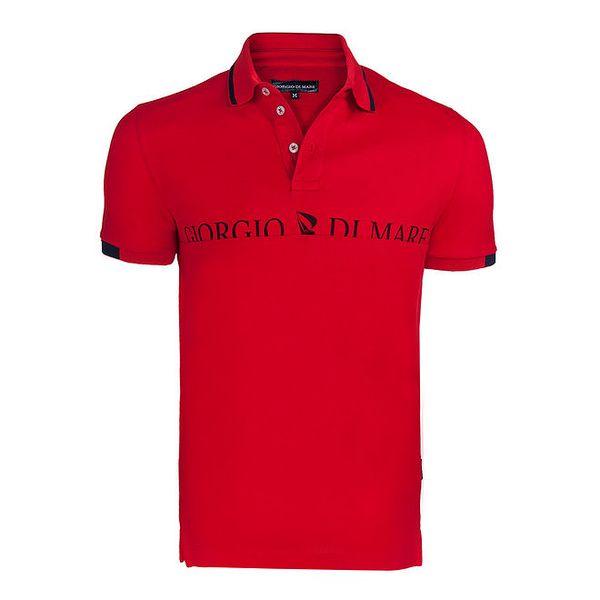 Pánské červené polo triko s nápisem na hrudi Giorgio di Mare