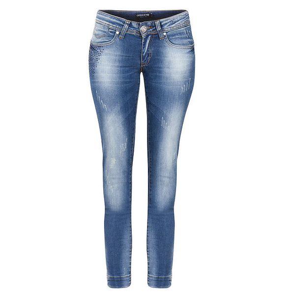 Dámské modré džíny s šisováním a oděrkami Giorgio di Mare